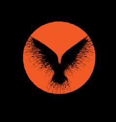 orange sun raven vector image