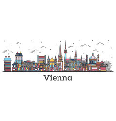 Outline vienna austria city skyline with color vector