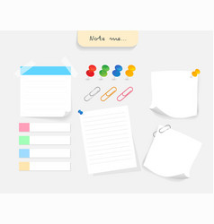 Paper note and office elements reminder object vector