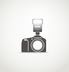 Photo camera silhouette with flash vector