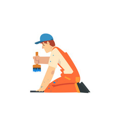 Professional painter with brush male construction vector