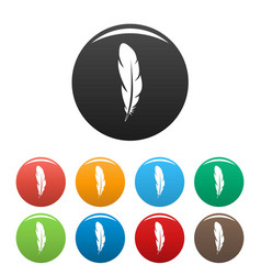quill feather icons set color vector image