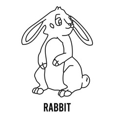 rabbit coloring page for preschool children learn vector image