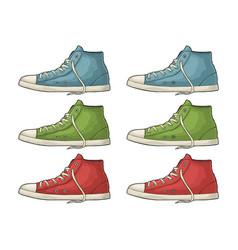 retro red green cyan sneakers vintage color vector image