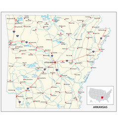Road map us american state arkansas vector