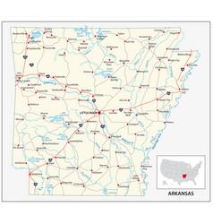 road map us american state arkansas vector image