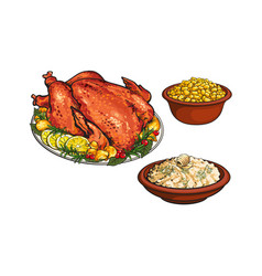 Roasted turkey mashed potato and bowl of corn vector