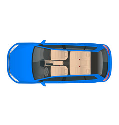 Salon car wagon view from above vector