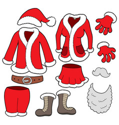 santa clauses clothes collection vector image