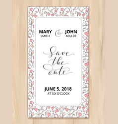 save the date card with hearts pattern background vector image