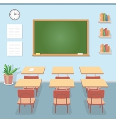 School classroom with chalkboard and desks Class vector