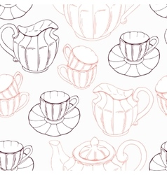 Seamless pattern with sketch style tea service and vector