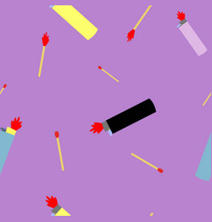 seamless pettern of lighters and wooden matches vector image