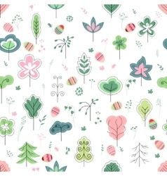 Seamless pretty pattern with stylized trees and vector image