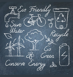set ecology icons and lettering on chalkboard vector image