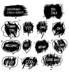 set hand drawn comic bubble speech with text vector image