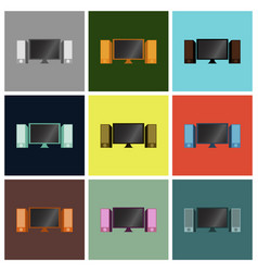 Set icons in flat design computer speakers vector
