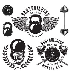 set of bodybuilding emblems vector image