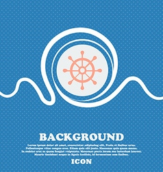 Ship helm sign Blue and white abstract background vector