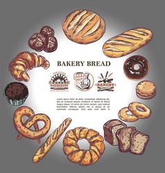 sketch bakery products round concept vector image