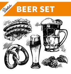 Sketch Oktoberfest set of beer vector image vector image