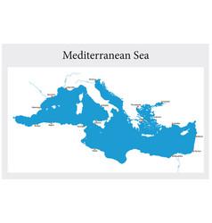 Small outline map mediterranean sea vector