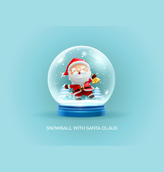 snow globe ball with santa claus merry christmas vector image