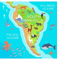 South America Mainland Cartoon Fauna Species vector