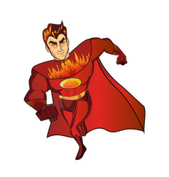 super hero fireman cartoon retro vector image