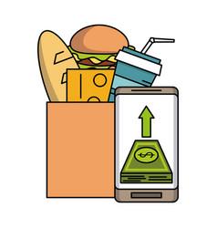 supermarket food delivery online vector image
