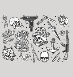 tattoos vintage monochrome collection vector image