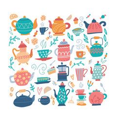 teapot hand drawn big set with cups and sweeties vector image