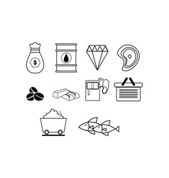 Thin line commodity icon set vector
