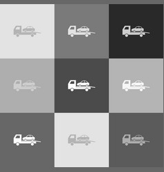 tow car evacuation sign grayscale version vector image