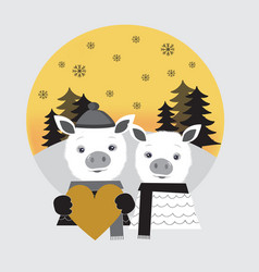 two cute pigs in love pig boy and pig girl vector image