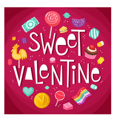 valentine day sticker with sweets vector image