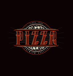 Vintage label for pizza vector
