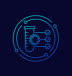 Virus and test tube line icon vector