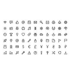 Web app line site interface symbol icon set vector
