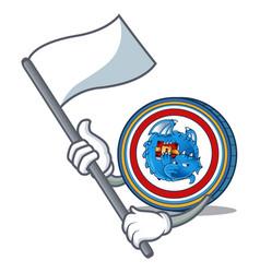 With flag dragonchain coin mascot cartoon vector