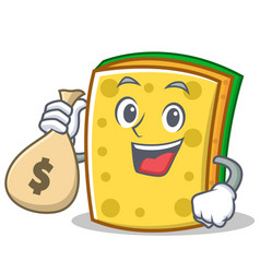 with money bag sponge cartoon character funny vector image
