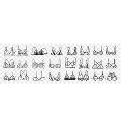 Woman bra hand drawn doodle set vector