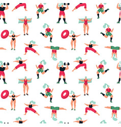 women feminist seamless pattern girls doing vector image