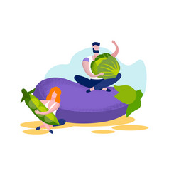 young man and woman sitting at huge eggplant vector image