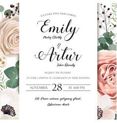 Floral wedding invitation elegant invite card vector