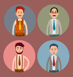 men character four colorful icons collection vector image vector image