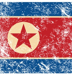 North Korea retro flag vector image vector image