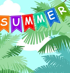 Summer card with palm trees sky and flags vector image vector image