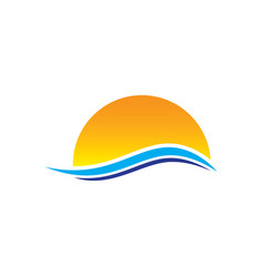 abstract sunset wave logo vector image vector image