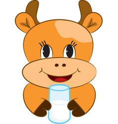 Cartoon baby cow vector image